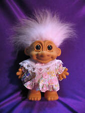 """6"""" Russ Hard Body Girl Troll Doll with Brown Eyes in Party Dress with a Present"""