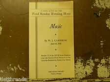 VINTAGE PAMPHLET - Apr 24, 1938 - FORD SUNDAY EVENING HOUR Music by W.J. Cameron