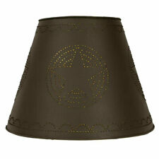 Large punched Star Lamp Shade in Rustic Brown Tin - 17 inch
