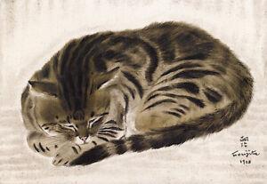"Cat Curled Up  by Tsuguharu Foujita  14""  Paper Print Repro"
