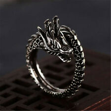 Ancient Silver Adjustable Alloy Fashion Opening Dragon Ring for Men Finger Rings