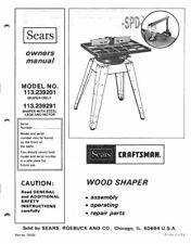 1982 Craftsman 113.239201  Wood Shaper Instructions FREE SHIPPING