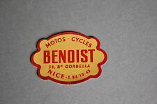 QC Ancien autocollant BENOIST cycle vélo marque moto Bd Gorbella Nice