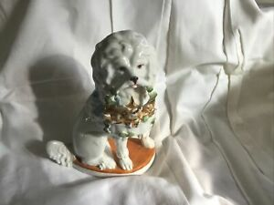 Pottery German Poodle With Basket In Mouth With  Puppys