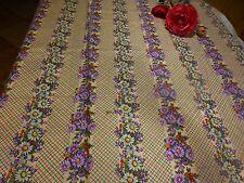 1m,05x0,85 +chute coton fleurs les vendangeuses  parmes et blanches