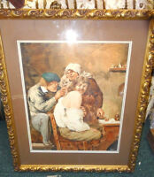 """1913 SIGNED GENUINE WATER COLOR HUNCHBACK OF NOTRE DAME PAINTING 21.5"""" L&17.5"""" W"""