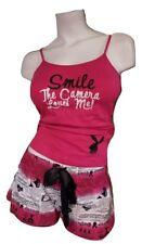 Playboy Pajamas 2Piece PJ Set Cotton TankTop Shorts Bottom Pink Papparazzi Large
