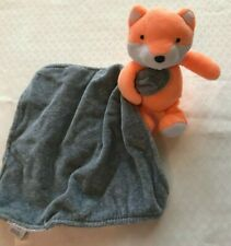 Carters Orange Fox with Gray Lovey Security Baby Blanket Rattles
