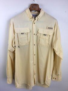 Columbia PFG Mens Shirt LT Omni Shade Yellow Long Sleeve Button Vented Fishing
