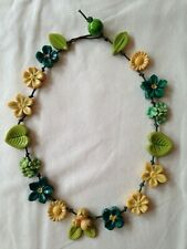 Handmade resin flower bead necklace vintage pieces blue green yellow leaves