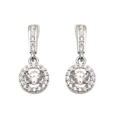 Earrings Droppers Diamond Unique Halo Sterling Silver Rhodium Platinum
