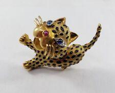 Nose and Black Enamel Spots Pin Brooch 18k Gold Cat w/ Sapphire Eyes, Ruby