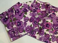 Vintage FALLANI & COHN Retro 8 Napkins Purple Violets Mid Century Modern NEW NOS