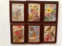 1:12 Scale PICTURE/S  in Mahogany Wood Frames, Flowers/Animals Dolls House