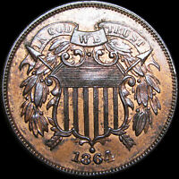 1864 Two Cent Piece 2cp ---- GEM BU++ CONDITION ---- #B680