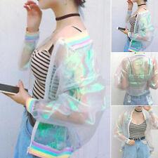 Fashiofarbpassiviert durchsichtig Damen Jacke holographisch Mantel Laser Rainbow