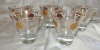 5 Vintage Mid Century Aztec Sundial Gold White Rocks Cordial Lowball Bar Glasses
