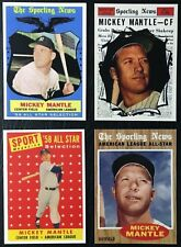4 Card Lot - 1958 - 1959 - 1961 - 1962 Topps Mickey Mantle Reprints - MINT