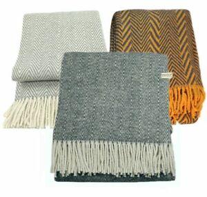 Zaloop Wolldecke Schurwolle in versch. Farben zickzack Muster Plaid Kuscheldecke