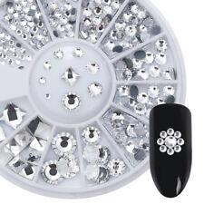 White Acrylic Nail Art Rhinestone Flat Bottom Studs  Decoration in Wheel
