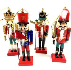Nussknacker 4 er Set Holz König Dekofiguren 14 cm Weihnachtsdeko Weihnachten neu