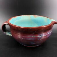 Vintage Redware Pottery Large  Pitcher Folk Art Handpainted Clay Turquoise Brown