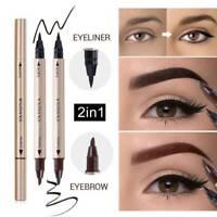 2 In1 Double Head Liquid Eye Liner Pen Pencil Black Waterproof Eyeliner Makeup