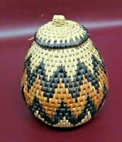 "Vintage Reproduction 6"" Tall Southwest Native American Style Woven Basket w/ Lid"