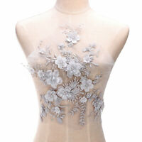 3D Flower Pearl Beaded Embroidery Lace Applique Patch Wedding Dress Fabric  HH