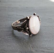 Floral Leafy Mother of Pearl Vintage Sterling Silver Ring Handmade 925 Silver