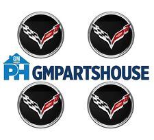 2014-2017 Corvette C7 Genuine GM Gloss Black w/ Chrome Wheel Center Cap Set Of 4