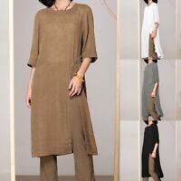 Women Summer Tunic Top Ladies Short Sleeve Cotton Blouse T-Shirt Dress Plus Size