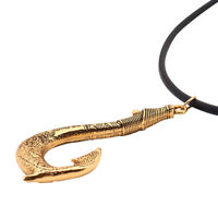 Maui's Fish Hook Gold Pendant Necklace Moana Leather Rope Movie Cosplay