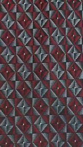 Van Heusen Gray Burgundy Black Geometric 100% Silk Tie T3341