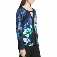 CALVIN KLEIN NEW Women's Printed Faux-leather Trim Blouse Shirt Top TEDO
