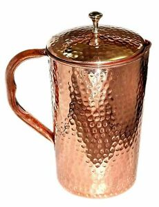 Hammered Copper Water Jug Pitcher Pot For Drinking Water Health Benefits 1500Ml