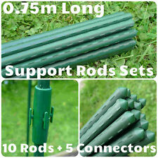 10x 2.5ft Plastic Coated Steel Bamboo Cane Plant Support +5Connectors GSK2152P10