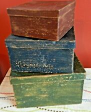 PRIMITIVE SQUARE NESTING BOXES ANTIQUE LOOK STACKING STORAGE LOT OF 3