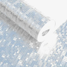 Luxury Silver Foil Mosaic Background Flicker Wall Paper Modern Roll Silver color