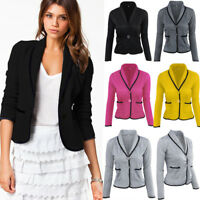 Women OL Work Blazer Suit Ladies Long Sleeve Slim Casual Jacket Coat Outwear Top