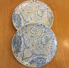 Signature Dessert Or Appetizer Plates. Blue Painting. Set Of 4. Stoneware. New.