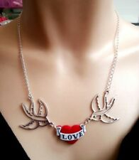 ♥ Collier - Hirondelles et coeur rouge Love tattoo - rockabilly pin up ♥