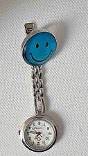 BLUE SMILING FACE EMOJI theme  nurse , beautician , uniform  pocket fob watch