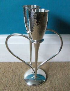 Culinary Concepts - Entwined Heart Lovers' Champagne Flutes - Silver Plate