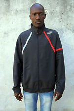 Puma Mens Tracksuit Top Jacket Polyester Charcoal Striped Red Grey L Lined