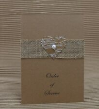 RUSTIC HESSIAN LACE HEART DESIGN HANDMADE ORDER OF SERVICE BOOKLETS