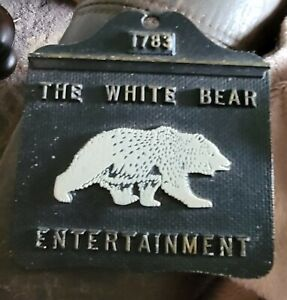 """Vtg Cast Metal Wall Plaque """"1783 The White Bear Entertainment"""" Made in the 70's"""