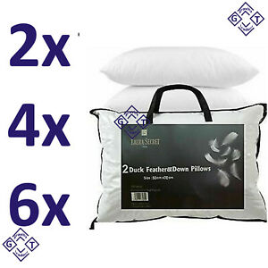 Duck & Down Feather Pillows - Hotel Quality - Extra Filling - Firm Support - UK