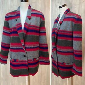 VTG Womens 80's 90's Stripe Fleece Oversized Blazer Coat Jacket