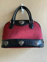 Brighton Red Black Studded Leather Croc Embossed Hearts Satchel Handbag Sz Large
